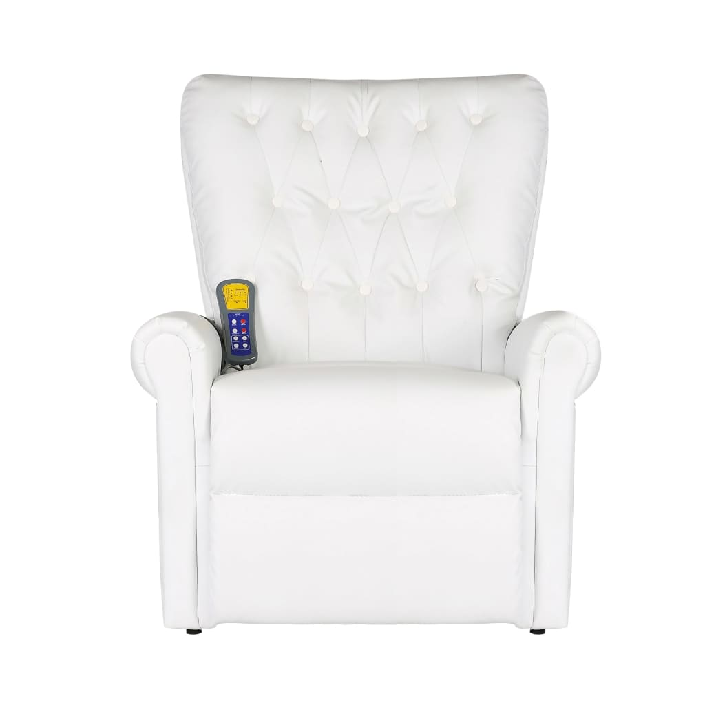 Massage Chair White Faux Leather 2