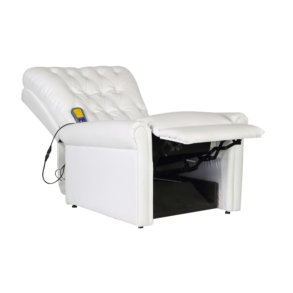 Massage Chair White Faux Leather 3