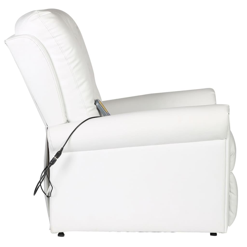 Massage Chair White Faux Leather 4