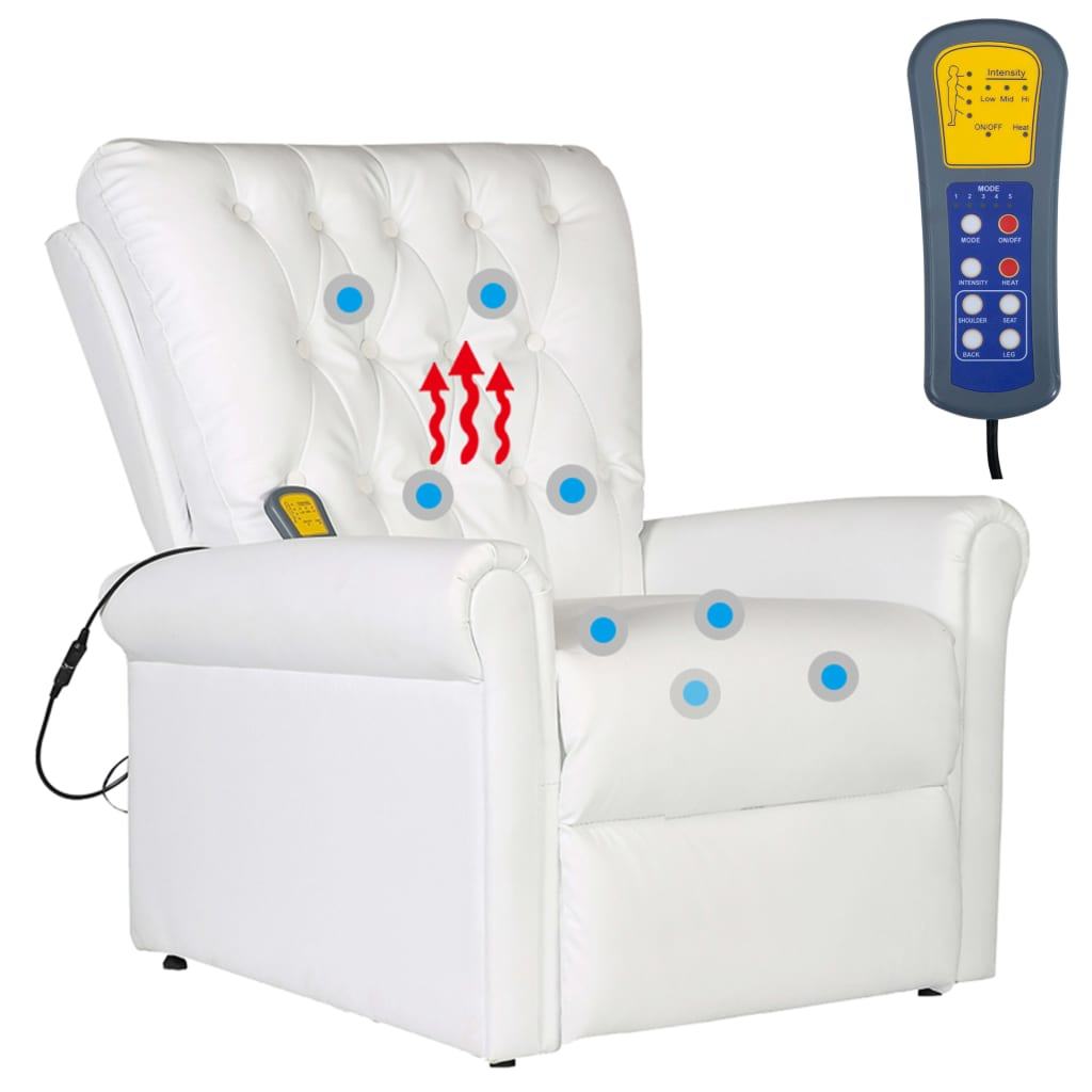 Massage Chair White Faux Leather 7