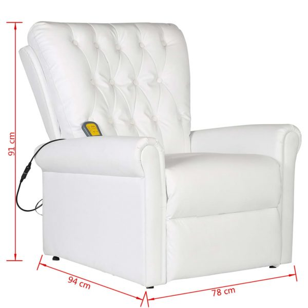 Massage Chair White Faux Leather 8