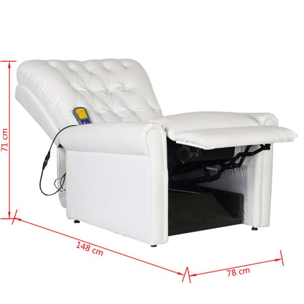 Massage Chair White Faux Leather 9