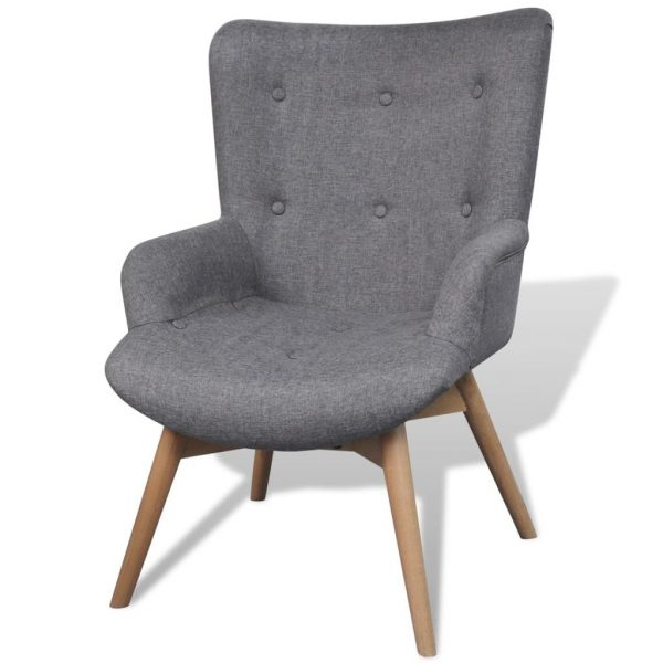 Armchair with Footstool Grey Fabric 2