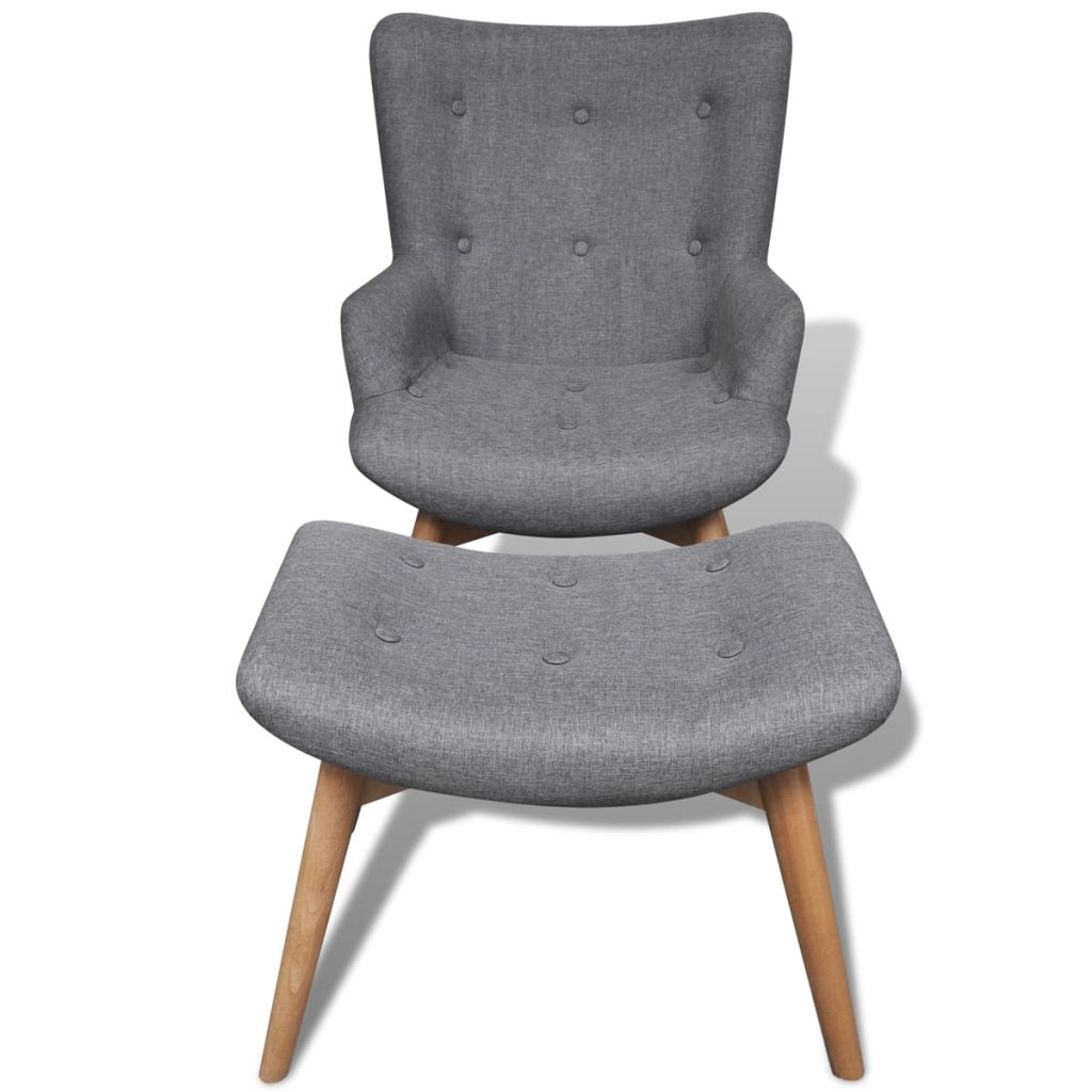 Armchair with Footstool Grey Fabric 5