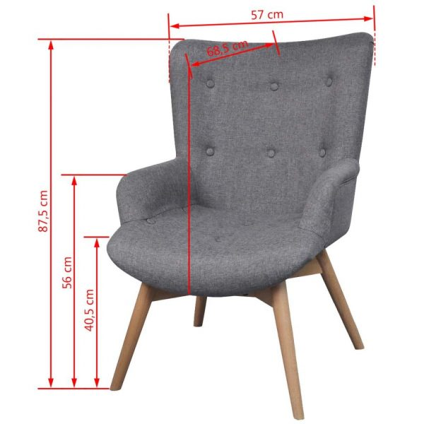 Armchair with Footstool Grey Fabric 6