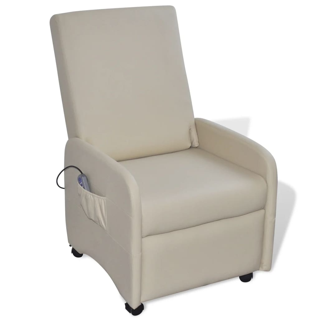 Massage Chair Cream Faux Leather 1