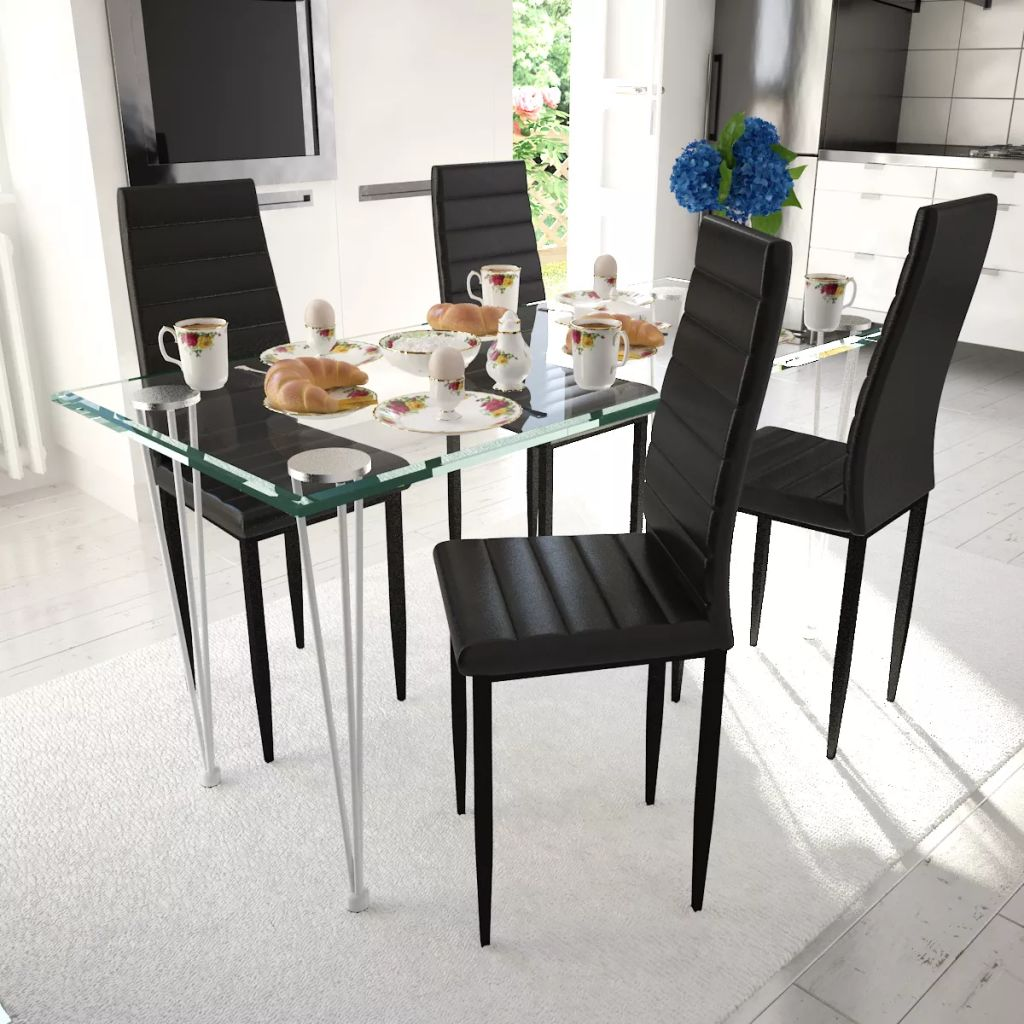 Dining Set Black Slim Line Chair 4 pcs with 1 Glass Table