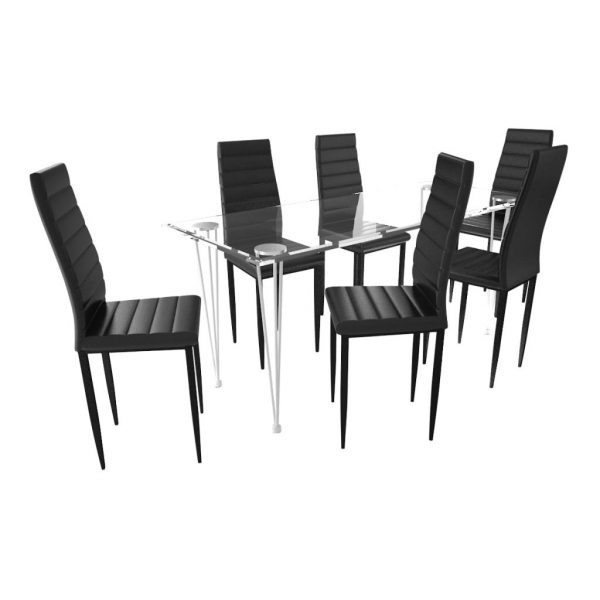 Dining Set Black Slim Line Chair 6 pcs with 1 Glass Table 2