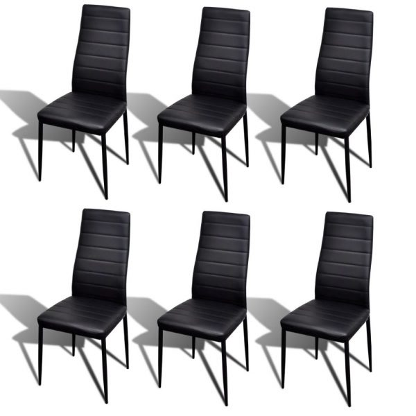 Dining Set Black Slim Line Chair 6 pcs with 1 Glass Table 3
