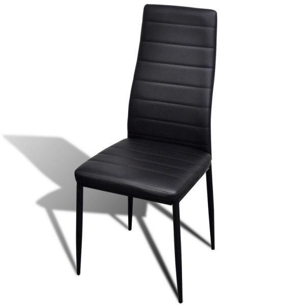 Dining Set Black Slim Line Chair 6 pcs with 1 Glass Table 6