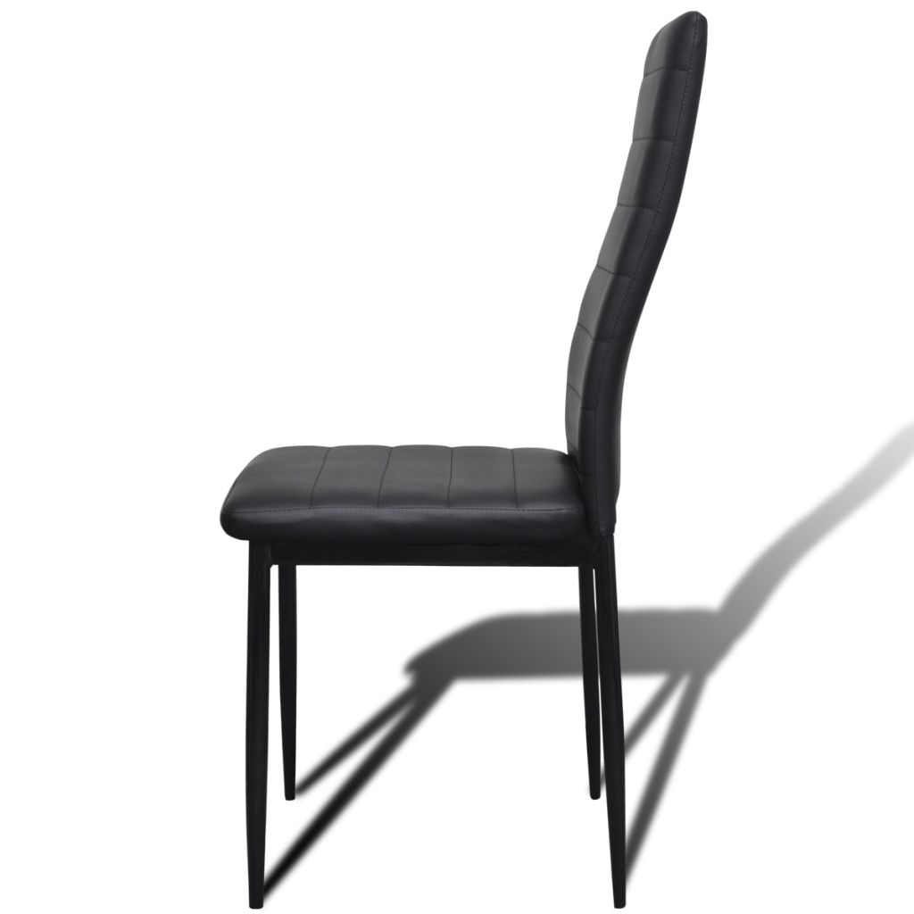 Dining Set Black Slim Line Chair 6 pcs with 1 Glass Table 7
