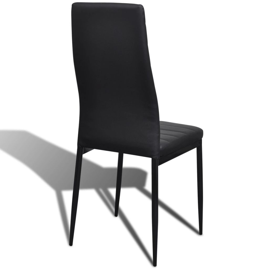 Dining Set Black Slim Line Chair 6 pcs with 1 Glass Table 8