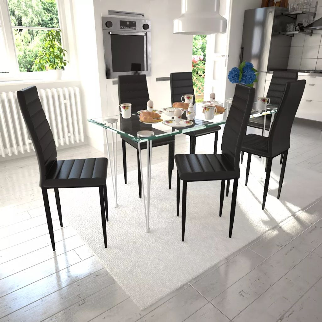 Dining Set Black Slim Line Chair 6 pcs with 1 Glass Table 1