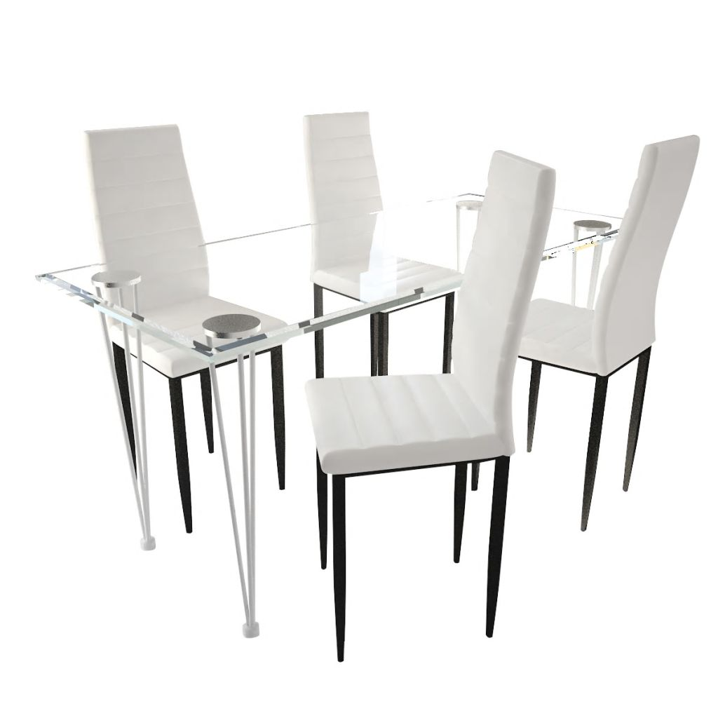 Dining Set White Slim Line Chair 4 pcs with 1 Glass Table 2