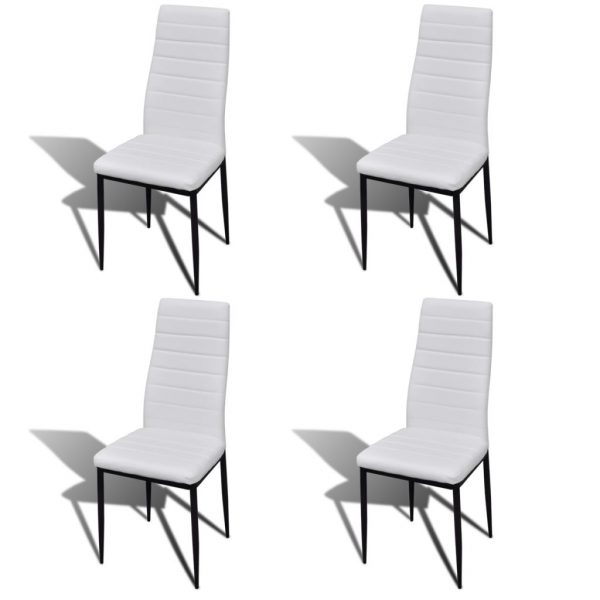 Dining Set White Slim Line Chair 4 pcs with 1 Glass Table 3