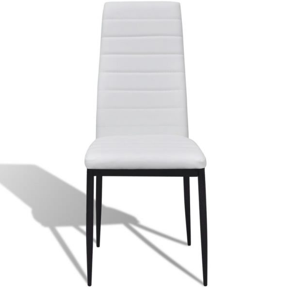 Dining Set White Slim Line Chair 4 pcs with 1 Glass Table 4