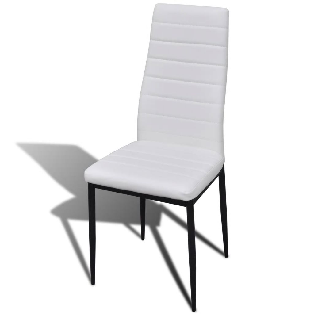 Dining Set White Slim Line Chair 4 pcs with 1 Glass Table 5