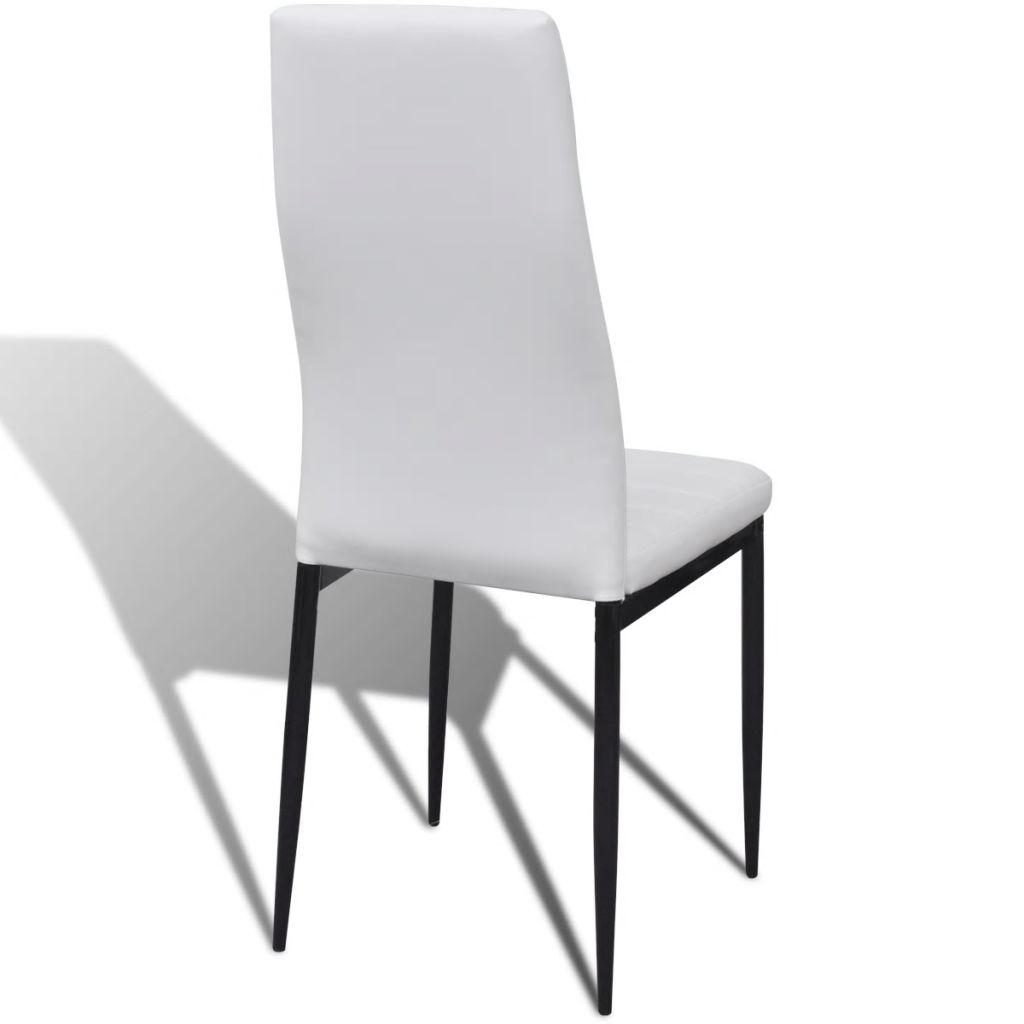 Dining Set White Slim Line Chair 4 pcs with 1 Glass Table 7