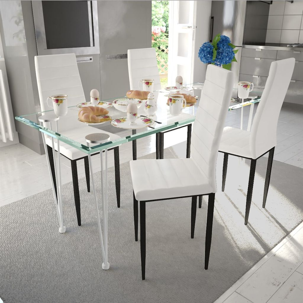 Dining Set White Slim Line Chair 4 pcs with 1 Glass Table