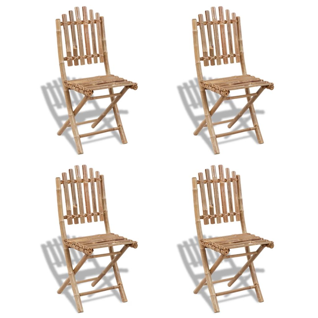 Foldable Outdoor Chairs Bamboo 4 pcs 1