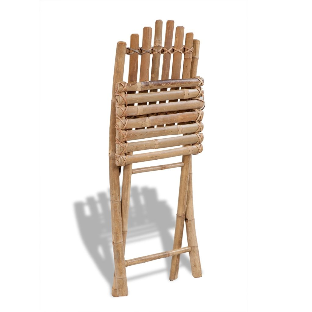 Foldable Outdoor Chairs Bamboo 4 pcs 2