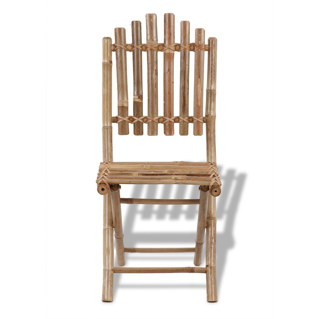 Foldable Outdoor Chairs Bamboo 4 pcs 4