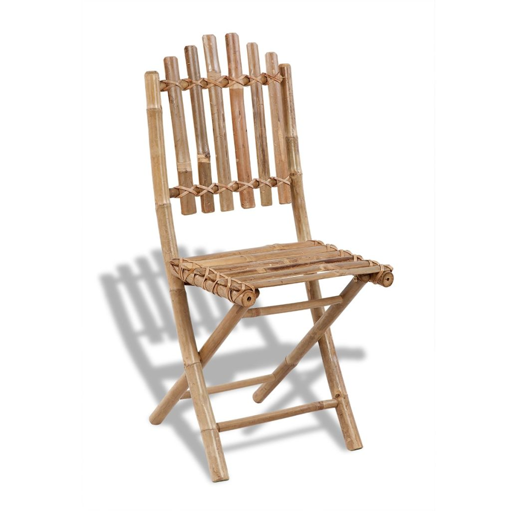 Foldable Outdoor Chairs Bamboo 4 pcs 5