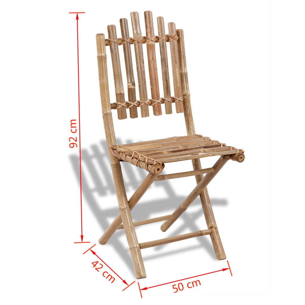 Foldable Outdoor Chairs Bamboo 4 pcs 6