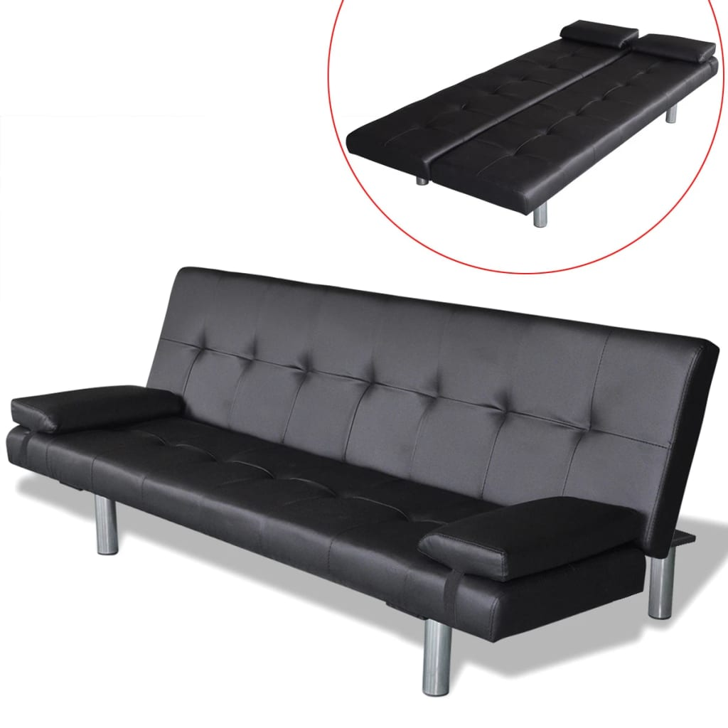 Sofa Bed with Two Pillows Artificial Leather Adjustable Black