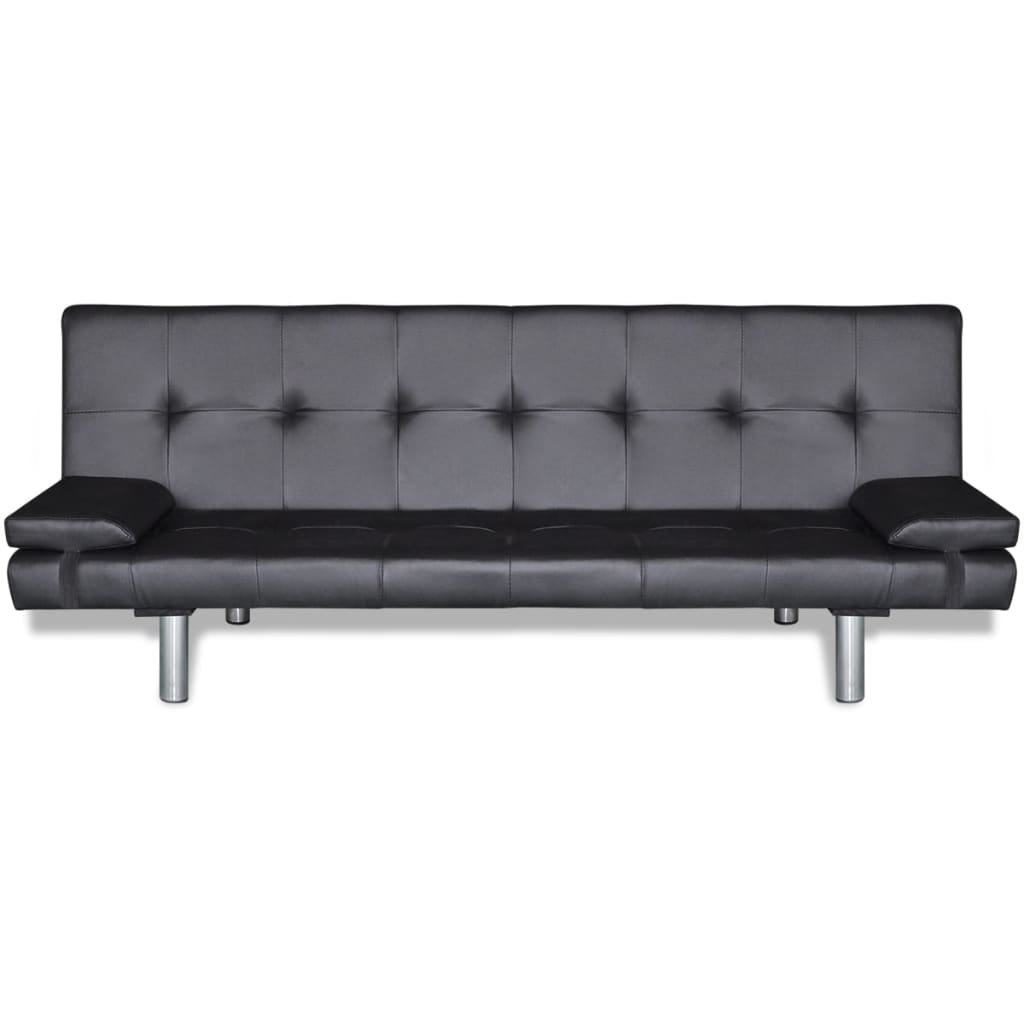 Sofa Bed with Two Pillows Artificial Leather Adjustable Black 4