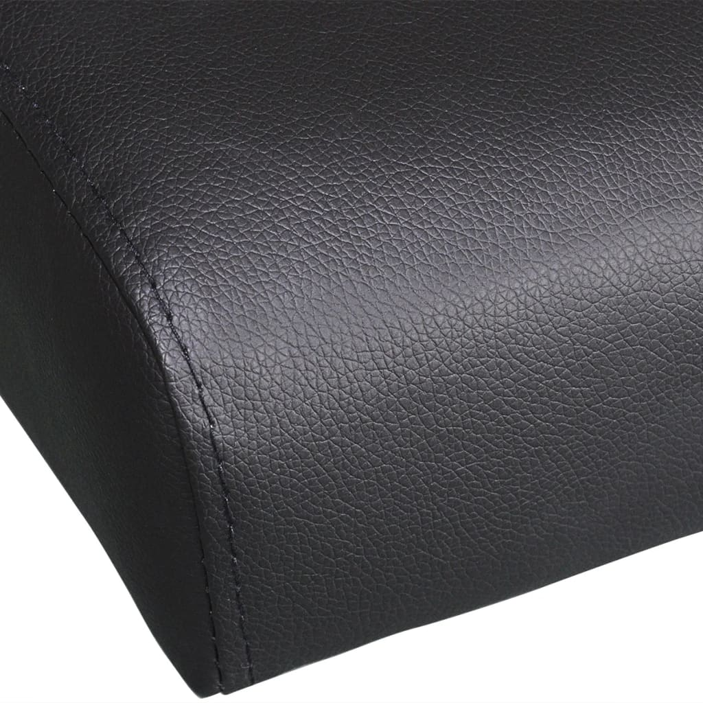 Sofa Bed with Two Pillows Artificial Leather Adjustable Black 7
