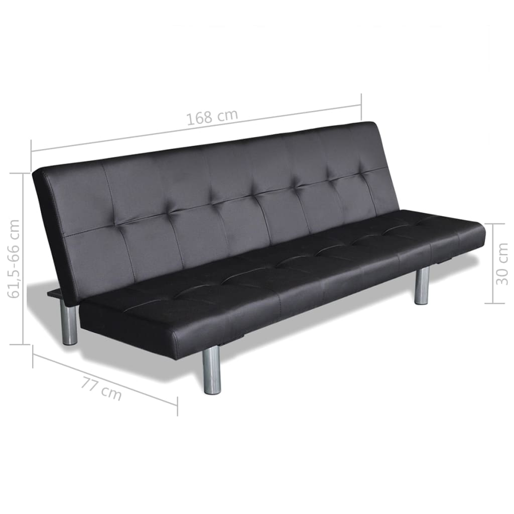Sofa Bed with Two Pillows Artificial Leather Adjustable Black 8