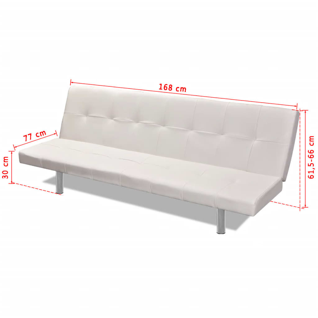 Sofa Bed with Two Pillows Artificial Leather Adjustable Cream White 8