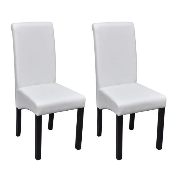 Dining Chairs 2 pcs White Faux Leather 1