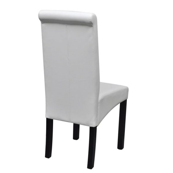 Dining Chairs 2 pcs White Faux Leather 5