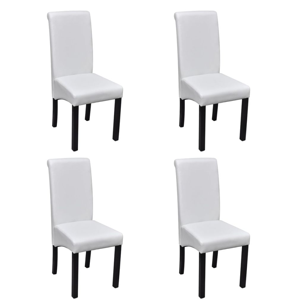 Dining Chairs 4 pcs White Faux Leather