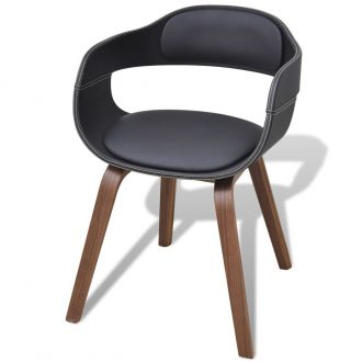 Dining Chair with Bentwood and Faux Leather 1