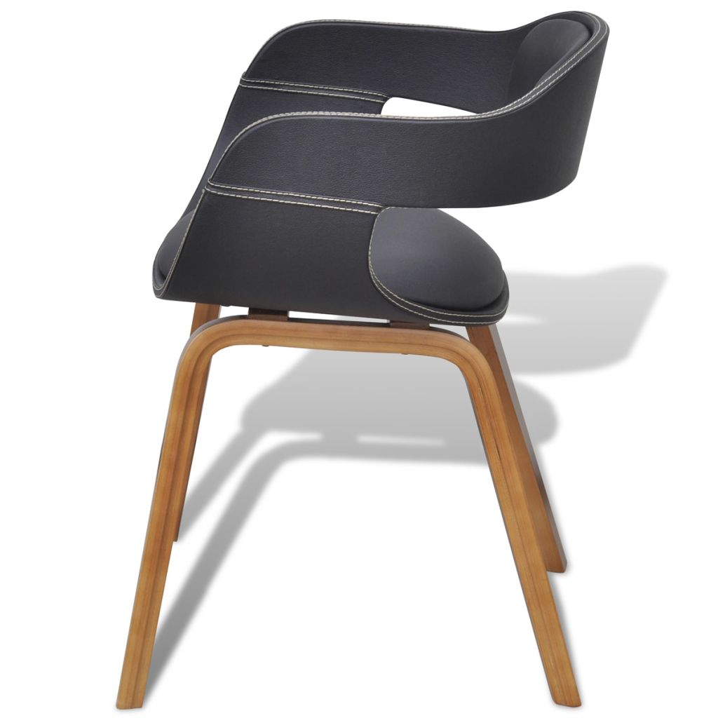 Dining Chair with Bentwood and Faux Leather 3