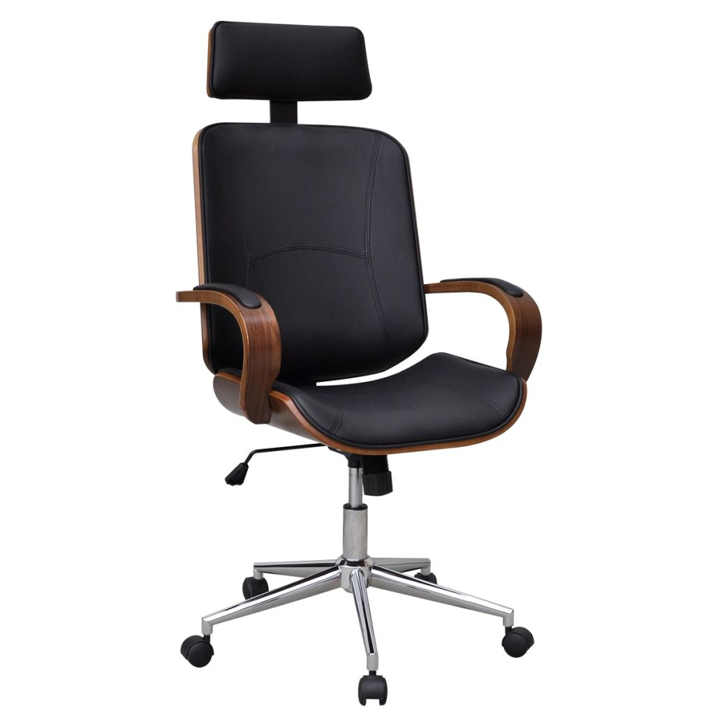 Swivel Office Chair with Headrest Bentwood Artificial Leather 1