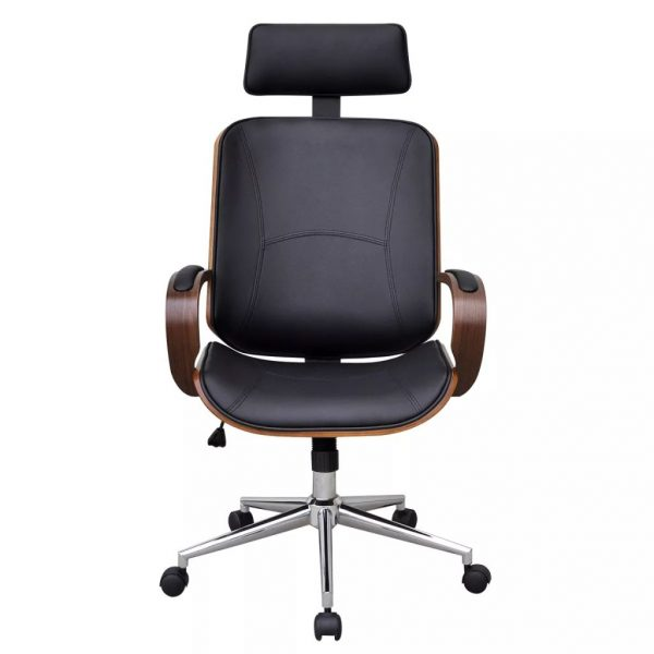 Swivel Office Chair with Headrest Bentwood Artificial Leather 2