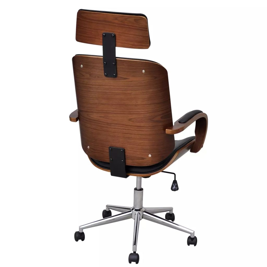 Swivel Office Chair with Headrest Bentwood Artificial Leather 3