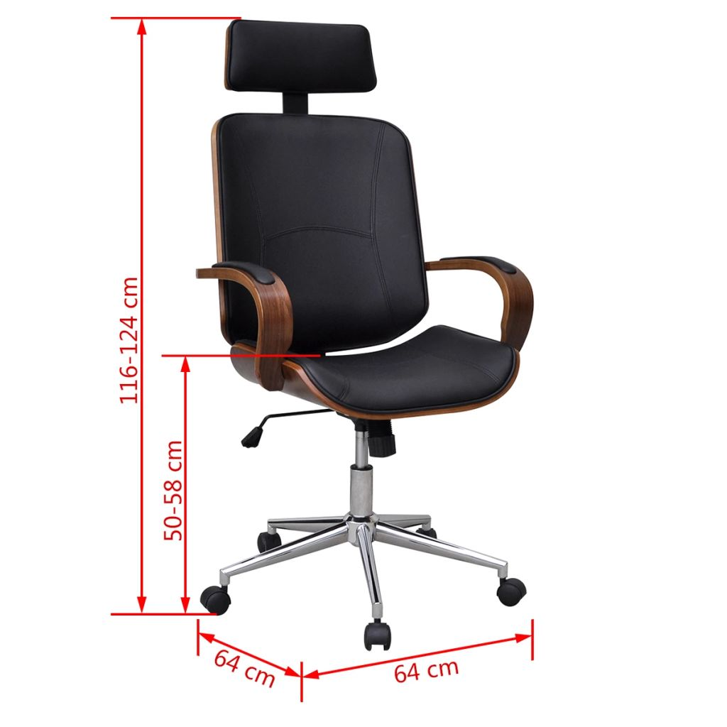 Swivel Office Chair with Headrest Bentwood Artificial Leather 5