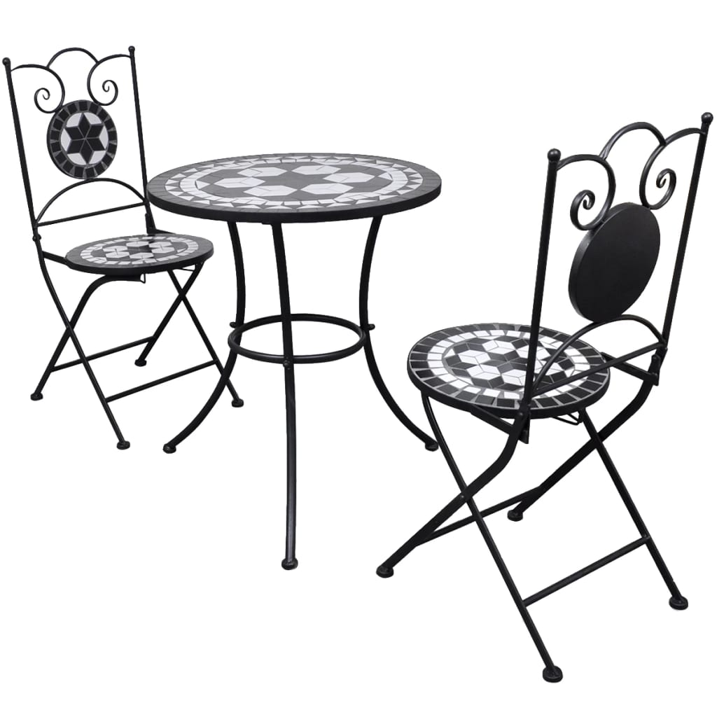 3 Piece Bistro Set Ceramic Tile Black and White 1