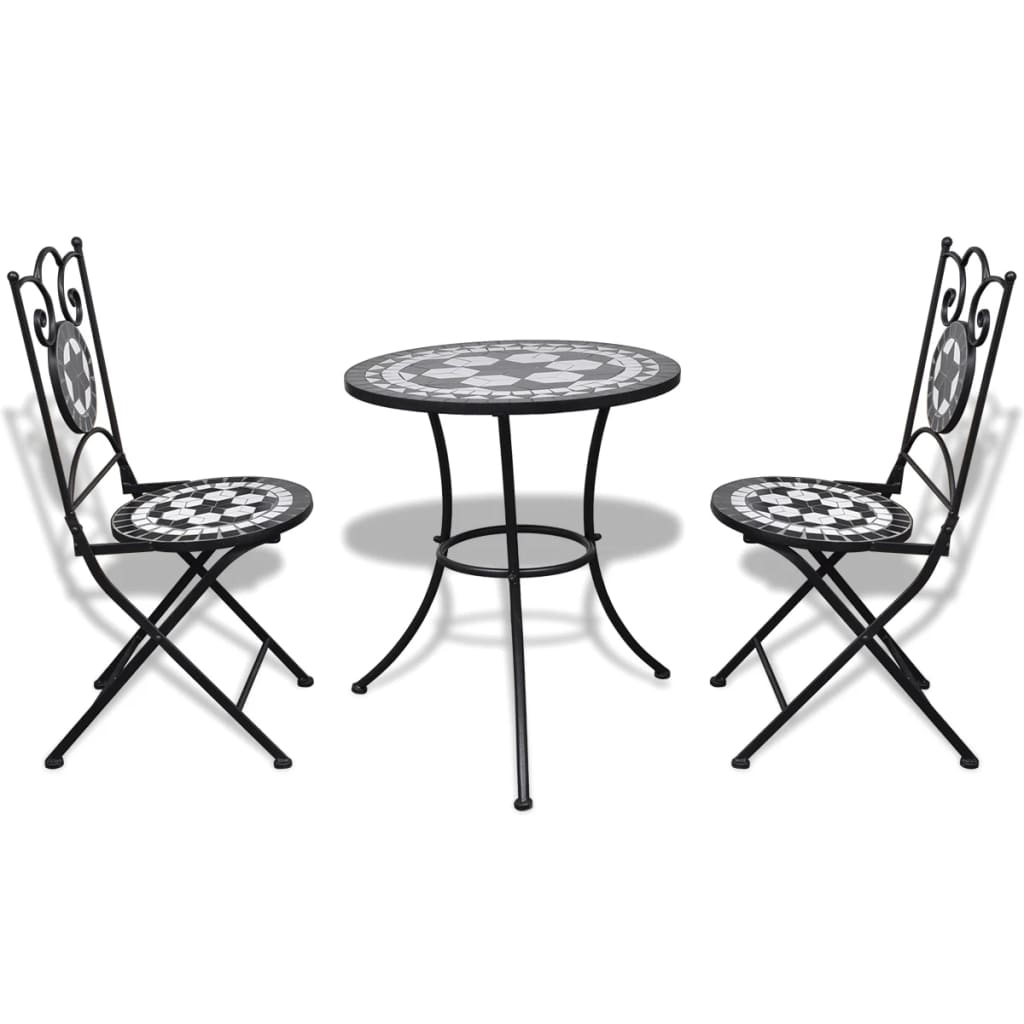 3 Piece Bistro Set Ceramic Tile Black and White 2