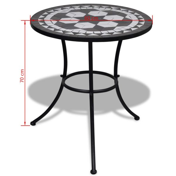 3 Piece Bistro Set Ceramic Tile Black and White 11