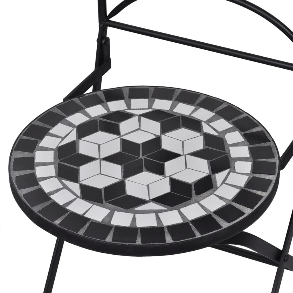 3 Piece Bistro Set Ceramic Tile Black and White 5