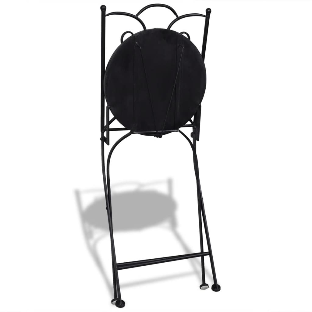3 Piece Bistro Set Ceramic Tile Black and White 6