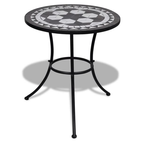 3 Piece Bistro Set Ceramic Tile Black and White 7