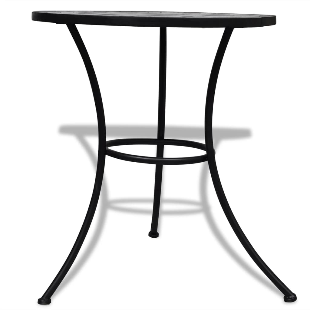 3 Piece Bistro Set Ceramic Tile Black and White 10