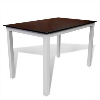 Dining Table 110 cm Solid Wood Brown and White 1